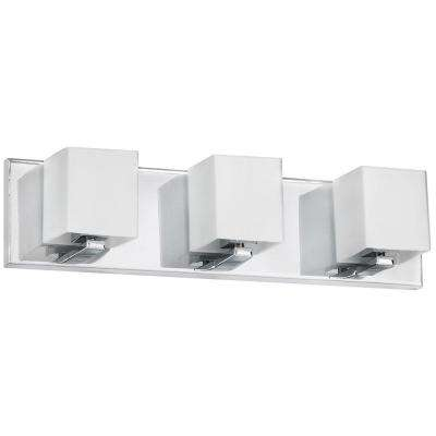 Nella 3-Light Polished Chrome Vanity Light with Frosted White Glass