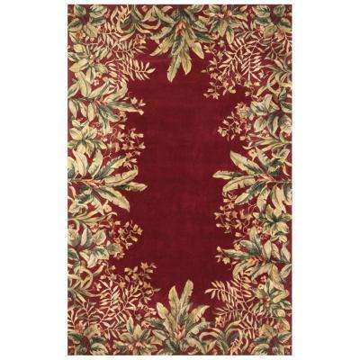 Lush Border Tropics Ruby 5 ft. 3 in. x 8 ft. 3 in. Area Rug