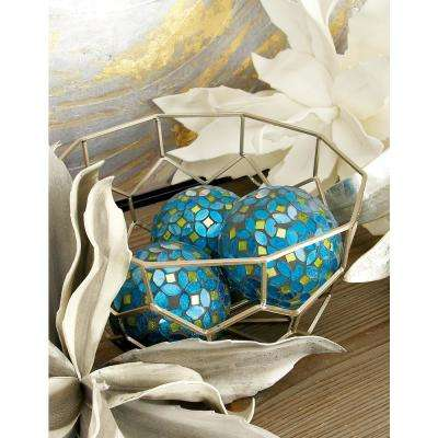 4 in. Dia Gray, Turquoise, and Green Glass and PVC Mosaic Decorative Balls (Set of 4)