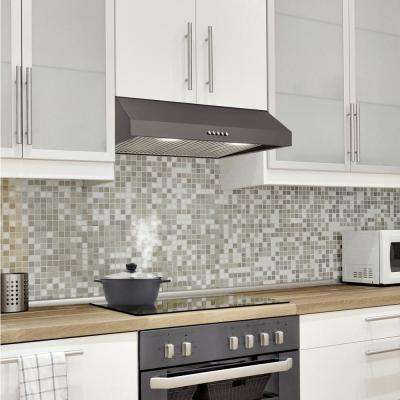 30 in. W 7 in. 370 CFM Under the Cabinet Range Hood with LED Bulbs in Black Stainless Steel