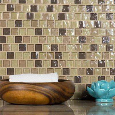 Geo Pupukea Beige Square Mosaic 1 in. x 1 in. Textured Glass Wall and Pool Tile (0.84 Sq. ft.)