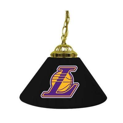 Los Angeles Lakers NBA 14 in. Single Shade Gold Hanging Lamp