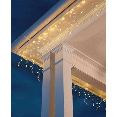 8 ft. 110-Light LED Warm White Smooth Mini Solar Icicle Light String