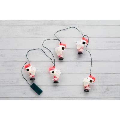 4 In. 5-Light White Peanuts LED Battery Operated Santa Snoopy
