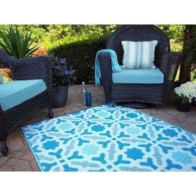 Seville Indoor/Outdoor Multicolor Blue 4 ft. x 6 ft. Area Rug