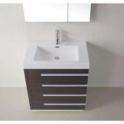 Bailey 30 in. W Bath Vanity in Wenge with Polymarble Vanity Top in White Polymarble with Square Basin