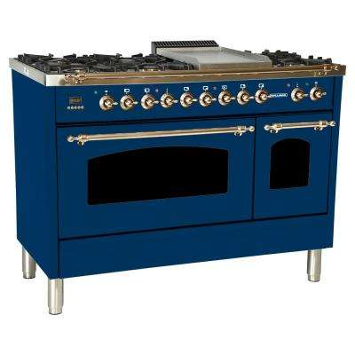 48 in. 5.0 cu. ft. Double Oven Dual Fuel Italian Range with True Convection, 7 Burners, Griddle, Bronze Trim in Blue