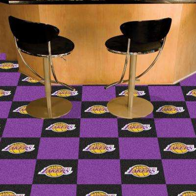 NBA Los Angeles Lakers Black and Purple Pattern 18 in. x 18 in. Carpet Tile (20 Tiles/Case)