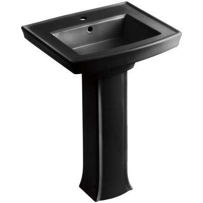 Archer Vitreous China Pedestal Combo Bathroom Sink in Black Black with Overflow Drain