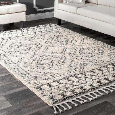 Vasiliki Moroccan Tribal Tassel Off-White 8 ft. x 10 ft. Area Rug