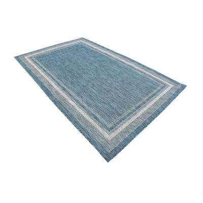 Outdoor Soft Border Teal 5' 0 x 8' 0 Area Rug