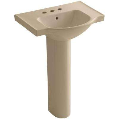 Veer Vitreous China Pedestal Combo Bathroom Sink in Mexican Sand with Overflow Drain