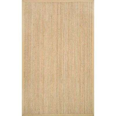 Elijah Seagrass with Border Beige 6 ft. x 9 ft. Area Rug