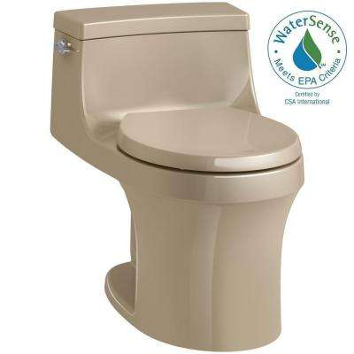 San Souci 1-piece 1.28 GPF Single Flush Round Toilet in Mexican Sand