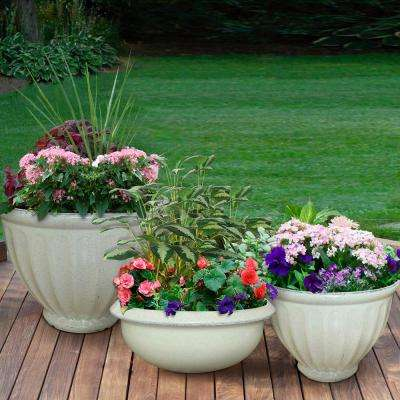 15 in. Caylo Planter 19 in. Caylo Planter 16 in. Sydney Bowl Resin Patio Pack (Pack of 3)