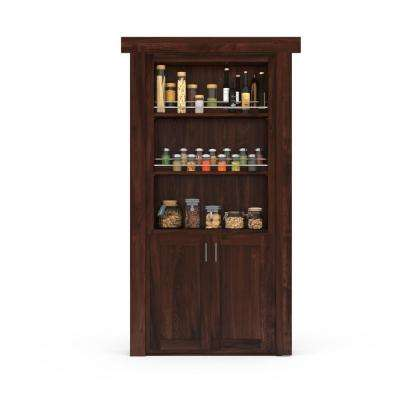 32 in. x 80 in. Flush Mount Assembled Forward Pantry Door Hickory Dark Stained Left-Hand Inswing