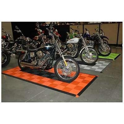 4.3 ft. x 9.6 ft. Orange Checkered Motorcycle Pad Ribtrax Modular Tile Flooring (36 sq. ft.)