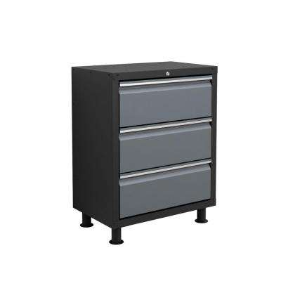 33 in. H x 26 in. W x 16 in. D Ready-to-Assemble Metal 3-Drawer Tool Cabinet in Grey
