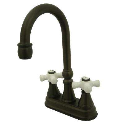 Classic 2-Handle Bar Faucet with Porcelain Handles in Oil Rubbed Bronze