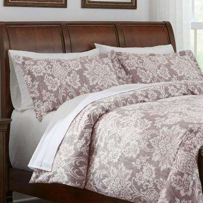 Scarlett 3-Piece Light Brown Damask Duvet Cover Set