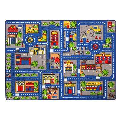 Paradise Town Map Design Blue 4 ft. 11 in. x 6 ft. 10 in. Area Rug