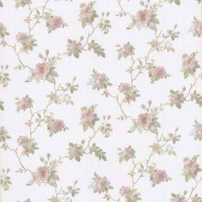 56.4 sq. ft. Agatha Pink Floral Wallpaper