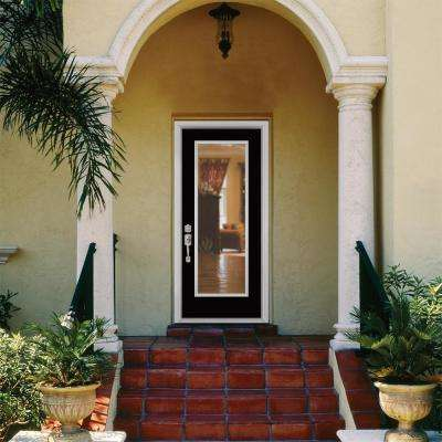 32 in. x 80 in. Full Lite Right-Hand Inswing Painted Smooth Fiberglass Prehung Front Door w/ Brickmold, Vinyl Frame