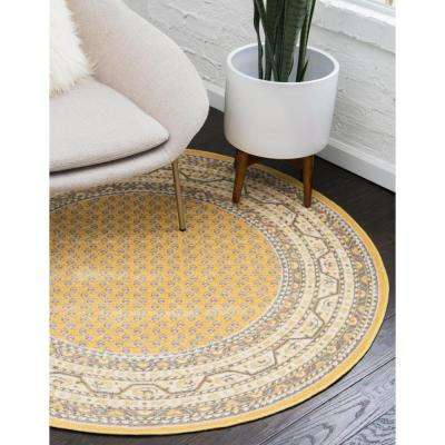 Williamsburg Allover Yellow 8' 0 x 8' 0 Round Rug