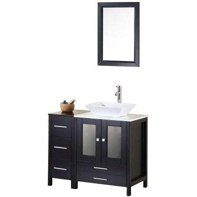 Arlington 36 in. W x 22 in. D Vanity in Espresso with Marble Vanity Top and Mirror in Carrera White