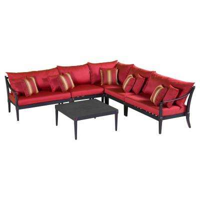 Astoria 6-Piece Patio Sectional Seating Set with Cantina Red Cushions