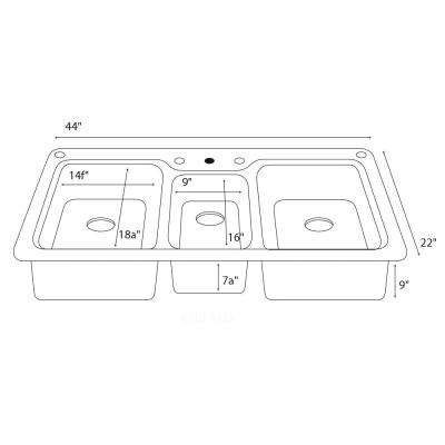 Drop-In/Undermount Solid Surface 44 in. 1-Hole 40/20/40 Triple Bowl Kitchen Sink in White