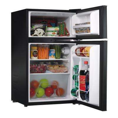 3.1 cu. ft. Mini Fridge with Dual Door True Freezer in Stainless Steel Look