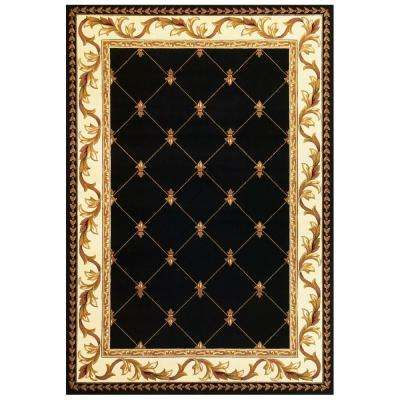 Elegant Traditions Black 3 ft. 3 in. x 4 ft. 11 in. Area Rug