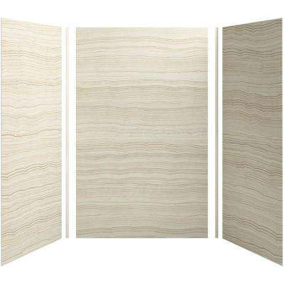 Choreograph 60in. X 42 in. x 96 in. 5-Piece Shower Wall Surround in VeinCut Biscuit for 96 in. Showers