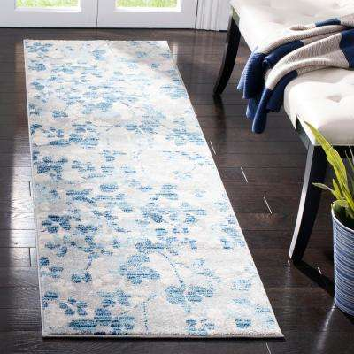 Evoke Gray/Light Blue 2 ft. x 11 ft. Runner Rug