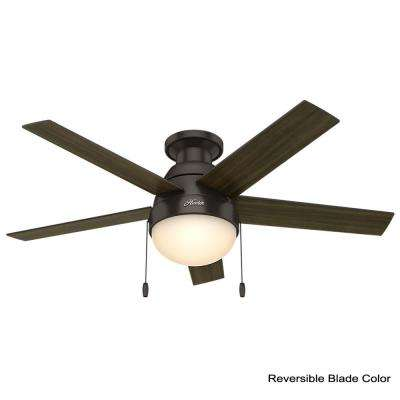 Anslee 46 in. Indoor Low Profile Premier Bronze Ceiling Fan with Light