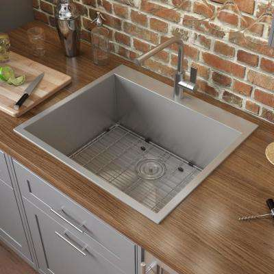 Drop-in Stainless Steel 25 in. 16-Gauge Square Top Mount Single Bowl Kitchen Sink