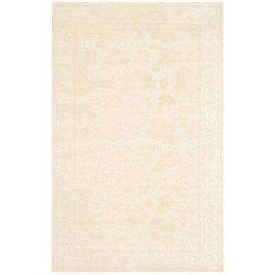Martha Stewart Peony Damask Cream 2 ft. 7 in. x 4 ft. Area Rug