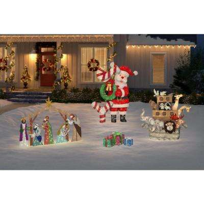 Toasty Tinsel 14.5 in. Christmas Warm White LED Multi-Colored PVC Gift Boxes (Set of 3)
