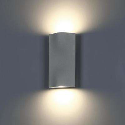 Haven Collection 2-Light Graphite Grey Outdoor LED Up and Down Wall Mount