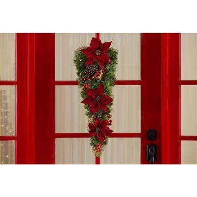 30 in. Burgundy Poinsettia Pre-Lit LED Gold Glitter Cedar and Mixed Pine Teardrop withWarm White Lights