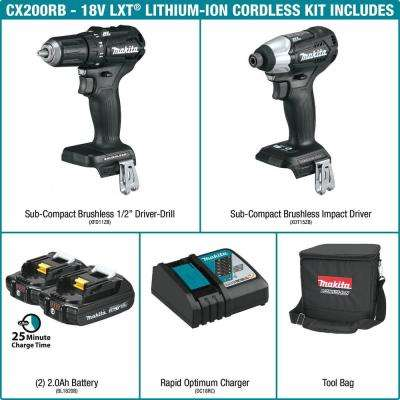 18-Volt LXT Lithium-Ion Sub-Compact Brushless Cordless 2-piece Combo Kit (Driver-Drill/ Impact Driver) 2.0Ah