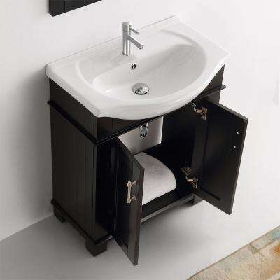 Hudson 30 in. W Traditional Bathroom Vanity in Black with Ceramic Vanity Top in White with White Basin