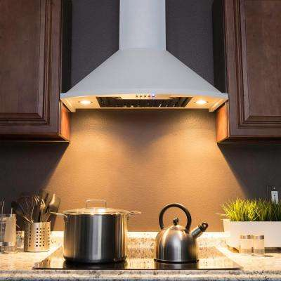30 in. Convertible Kitchen Wall Mount Range Hood with Lights in White Stainless Steel