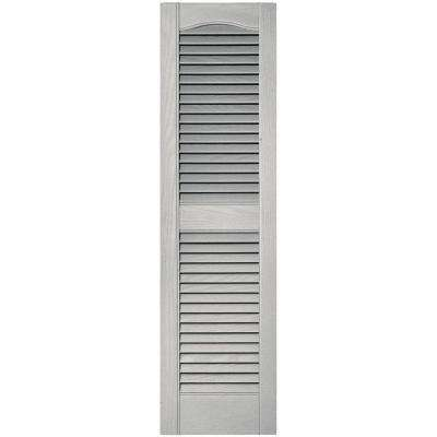 12 in. x 43 in. Louvered Vinyl Exterior Shutters Pair in #030 Paintable