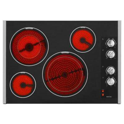 30 in. Ceramic Glass Electric Cooktop in Stainless Steel with 4 Elements including Dual Choice Elements