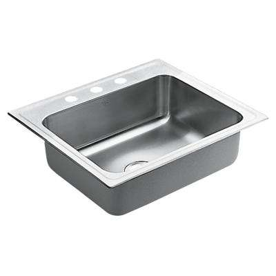 M-DURA Commercial Drop-In Stainless Steel 25 in. 3-Hole Single Basin Kitchen Sink Featuring QuickMount Hardware