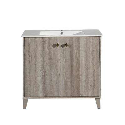 Eclair 36 in. Single, Two Doors, Bathroom Vanity with White Countertop with White Basin