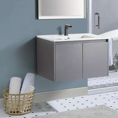 18 in. W x 19 in. D x 29 in. H Rock Gray Wall-Mounted Single Bathroom Vanity with Vanity Top in White with White Basin