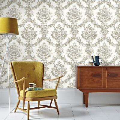 Opal Damask White/Gold White and Gold Wallpaper Sample